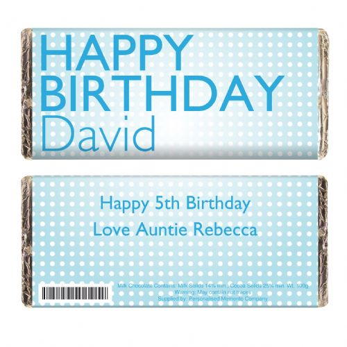 Personalised Happy Birthday Blue Dots Chocolate Bar
